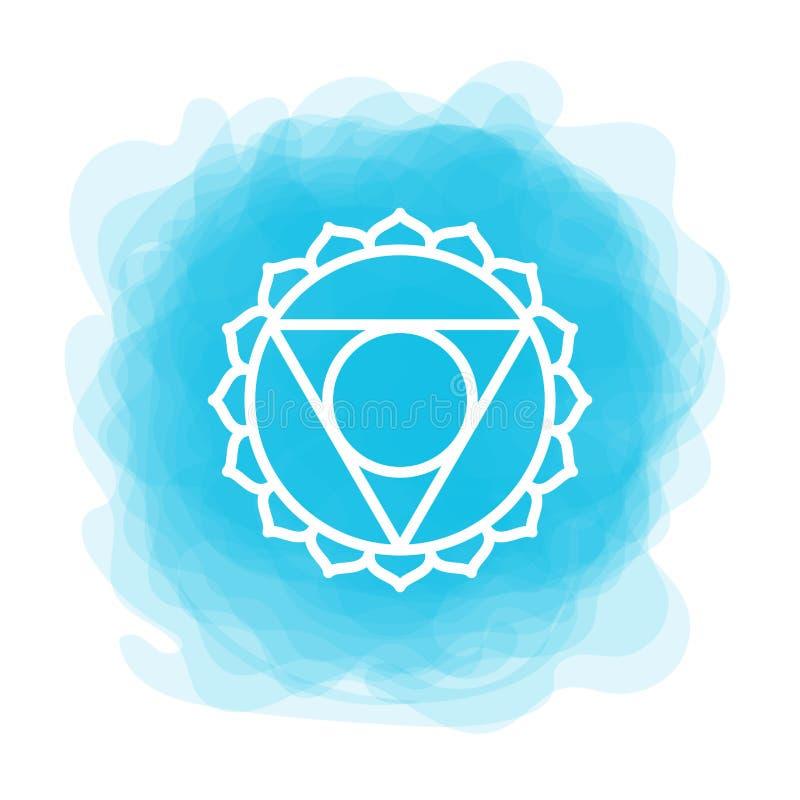 Ícone de Vishuddha O quinto chakra gutural Círculo fumarento azul do vetor Linha símbolo Sinal sacral meditation ilustração stock
