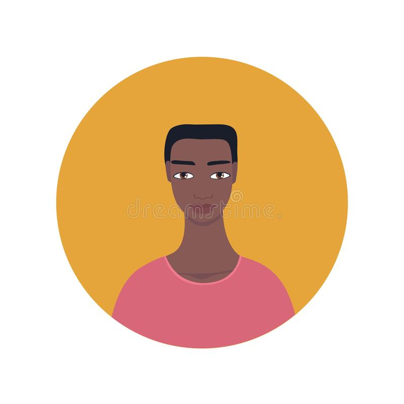 Ícone de vista exótico misturado do homem do afro-americano considerável novo ilustração royalty free