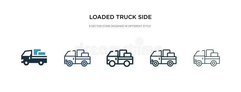 Ícone de vista lateral do caminhão carregado em ilustração de vetor de estilo diferente dois ícones coloridos e pretos do vetor d ilustração royalty free