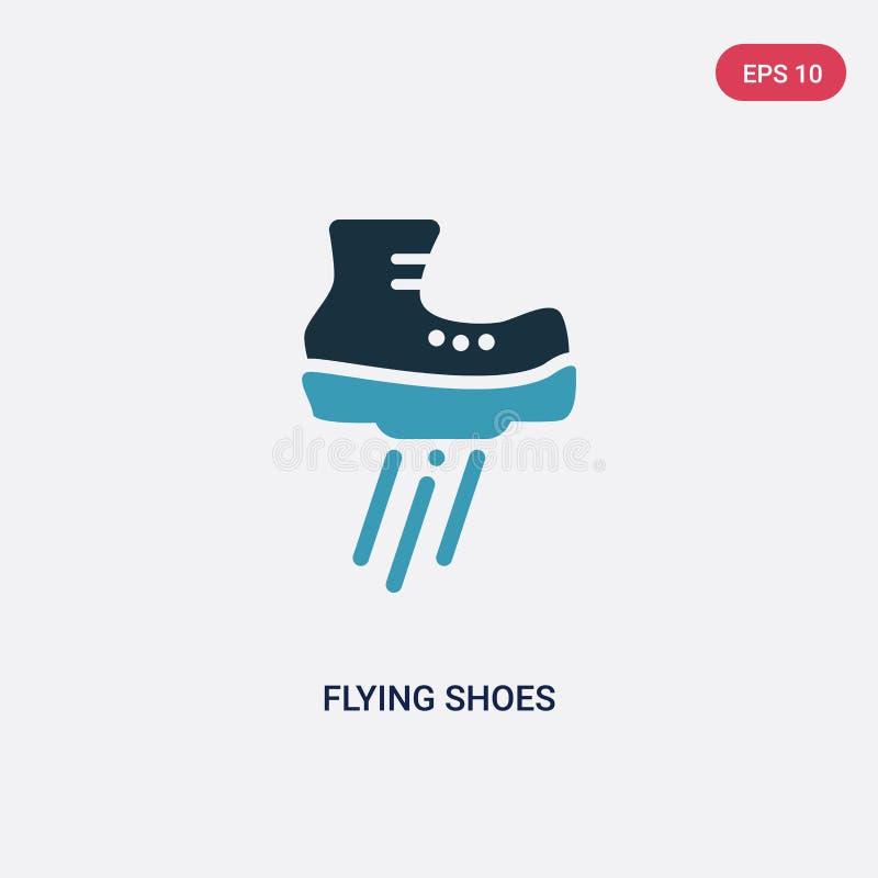 Ícone de voo de duas cores do vetor das sapatas do conceito dos esportes o símbolo azul isolado do sinal do vetor das sapatas do  ilustração royalty free