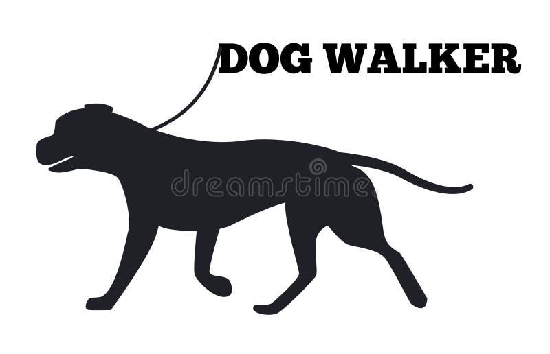 Ícone de Walker Logo Design Canine Animal Black do cão ilustração stock
