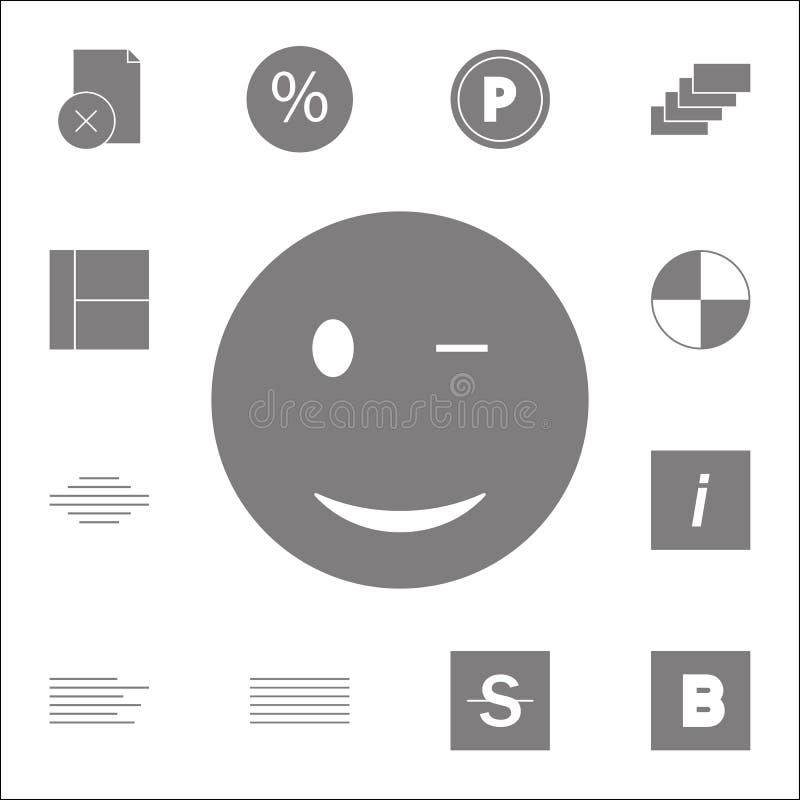 Ícone de Wink Smiley Grupo detalhado de ícones minimalistic Sinal superior do projeto gráfico da qualidade Um dos ícones da coleç ilustração stock