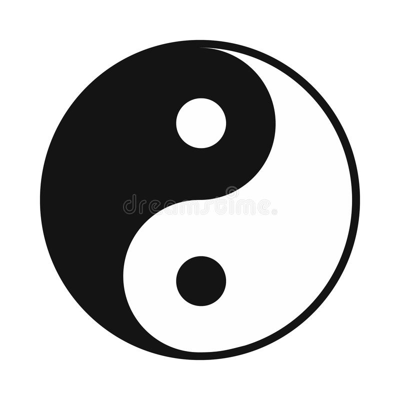 Ícone de Ying yang, estilo simples ilustração stock