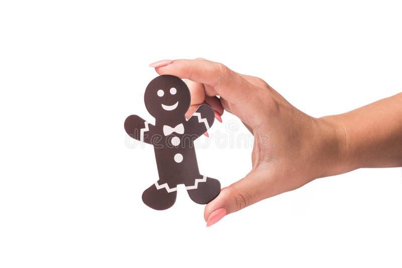 ícone decorado do homem da cookie isolado imagem de stock