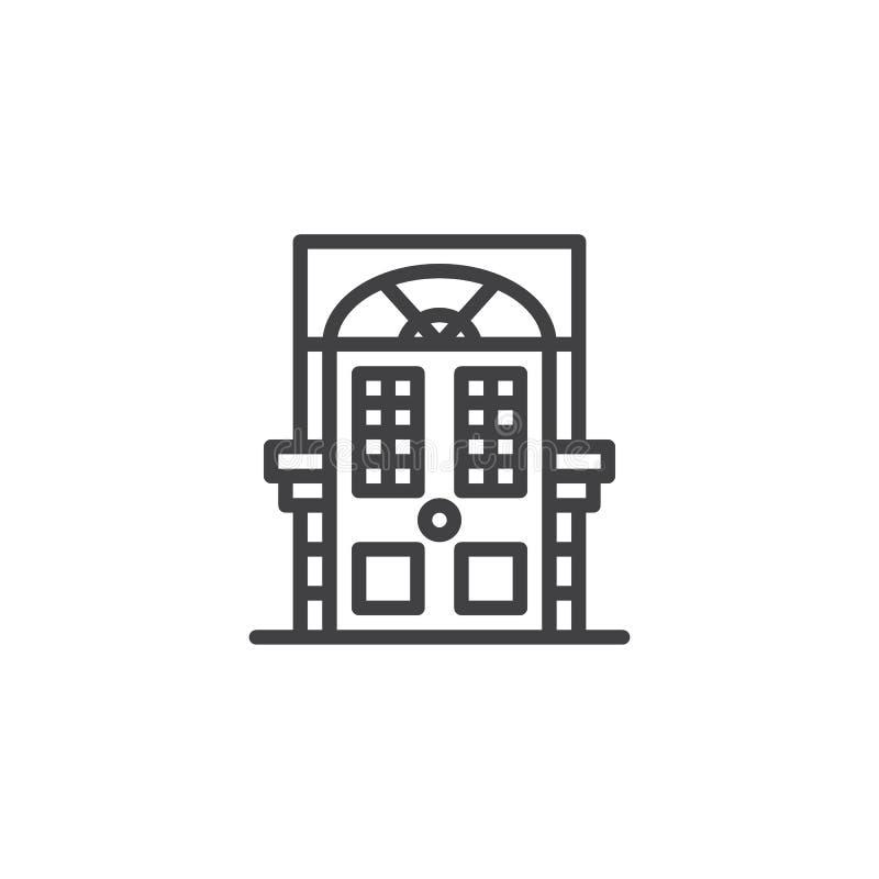 Ícone decorativo do esboço da porta ilustração stock