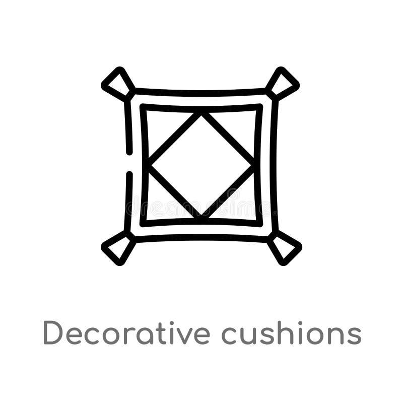 ícone decorativo do vetor dos coxins do esboço linha simples preta isolada ilustração do elemento do conceito das construções Vet ilustração stock