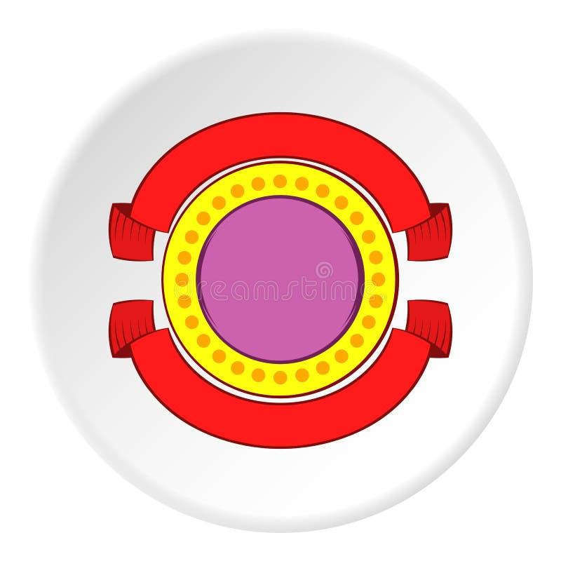 Ícone decorativo redondo da etiqueta, estilo dos desenhos animados ilustração royalty free