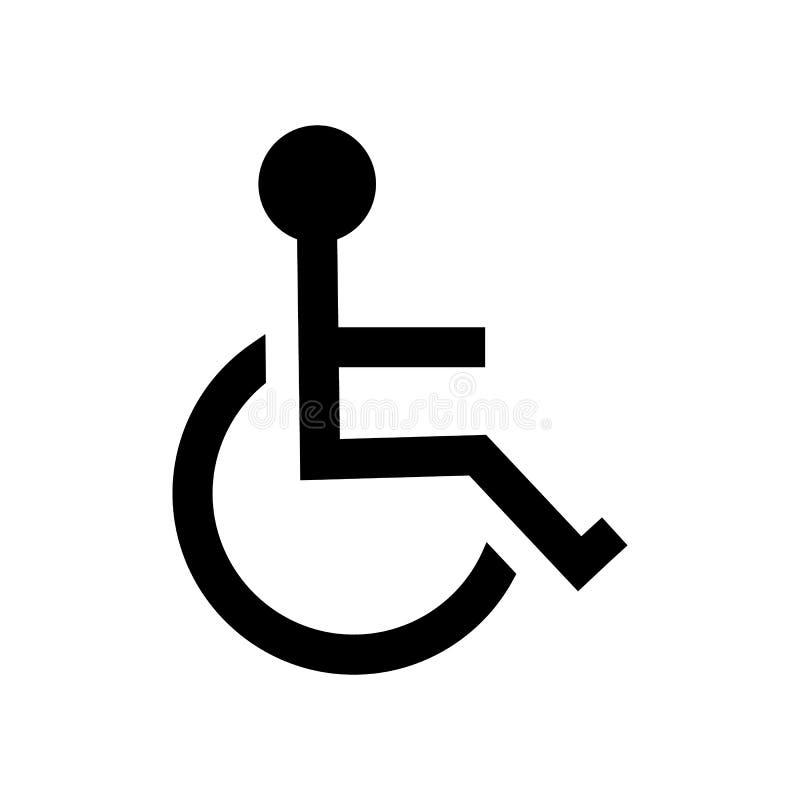 Ícone deficiente da desvantagem, sinal de estacionamento da cadeira de rodas isolado ilustração royalty free