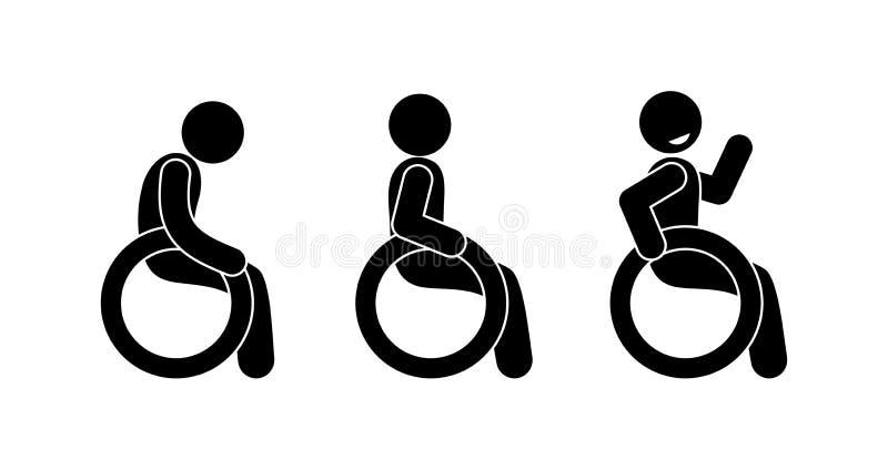 Ícone deficiente, várias poses, figura ser humano da vara ilustração royalty free
