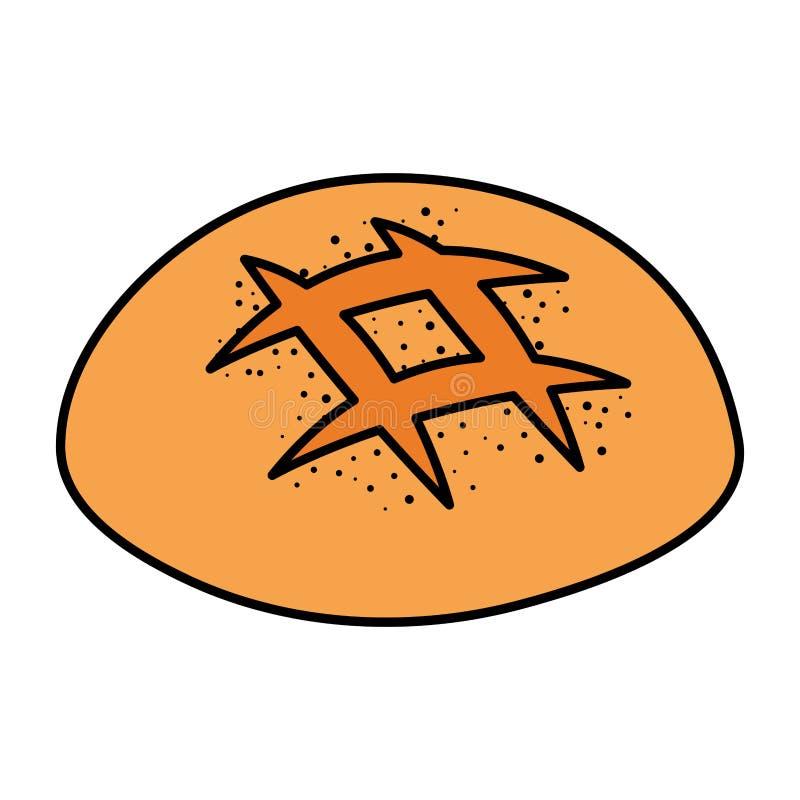Ícone delicioso da pastelaria do pão ilustração royalty free
