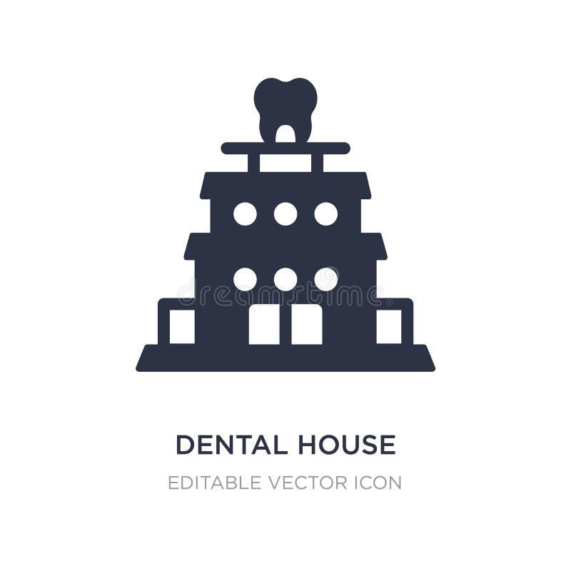 ícone dental da casa no fundo branco Ilustração simples do elemento do conceito do dentista ilustração do vetor
