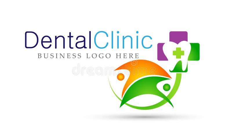 Ícone dental do projeto do logotipo dos cuidados médicos dos povos do dentista da clínica no fundo branco ilustração royalty free