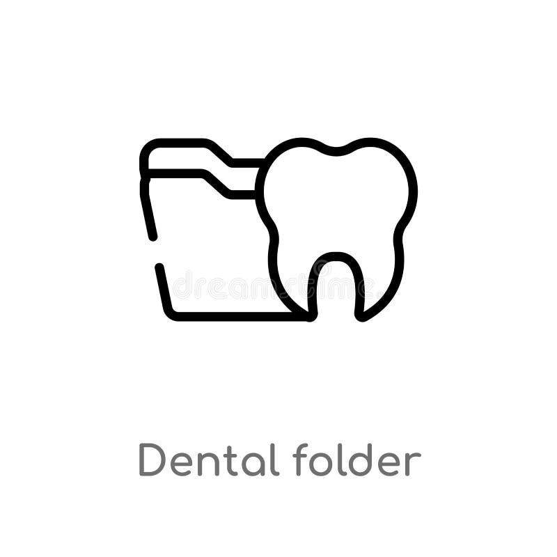 ícone dental do vetor do dobrador do esboço linha simples preta isolada ilustra??o do elemento do conceito do dentista Curso edit ilustração do vetor