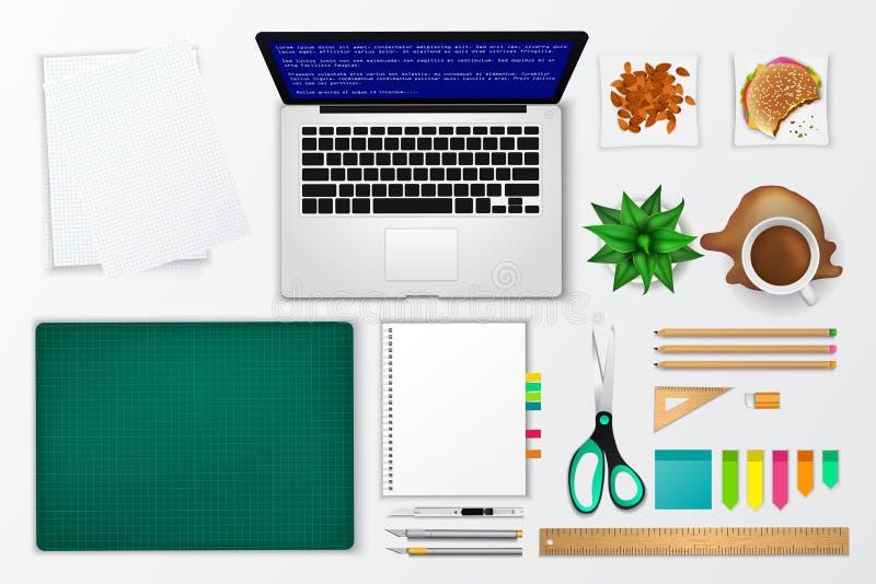 Ícone desarrumado do modelo do produto do espaço do escritório e de funcionamento ilustração do vetor