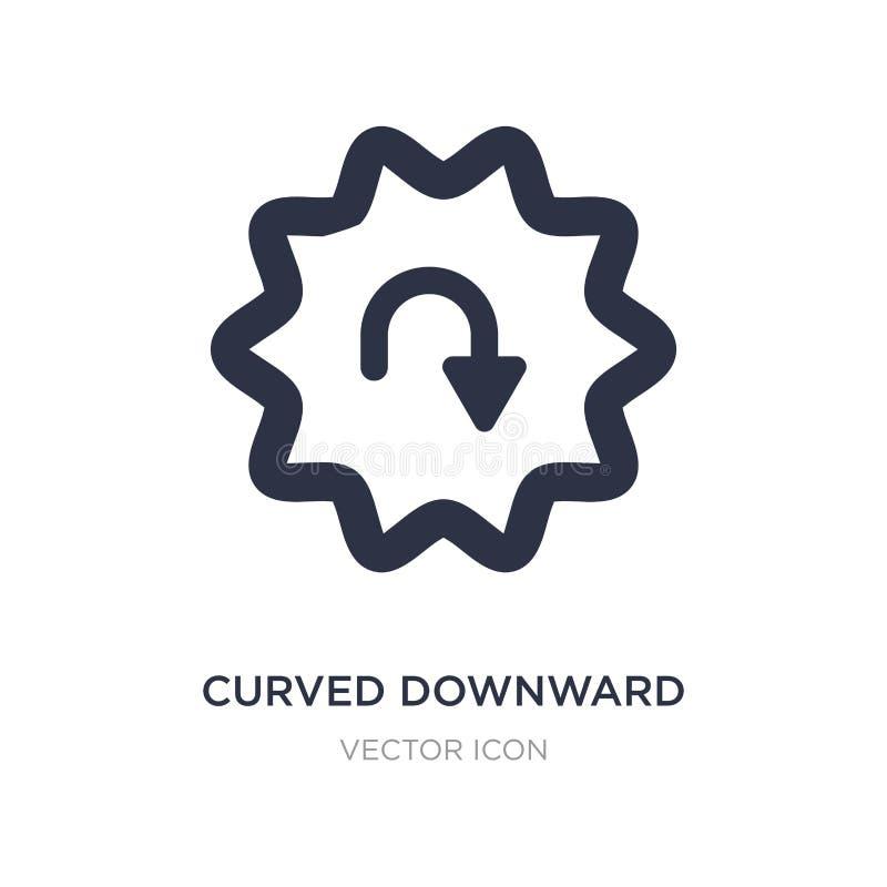 ícone descendente curvado da seta no fundo branco Ilustração simples do elemento do conceito de UI ilustração royalty free