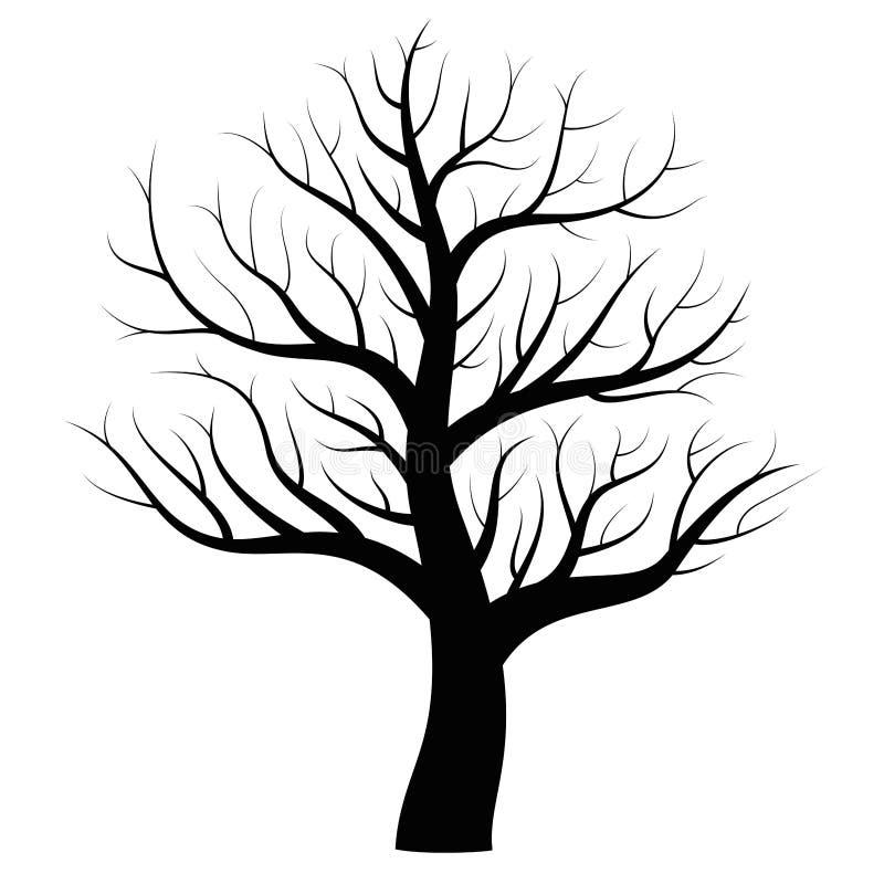 Ícone desencapado do preto do inverno da árvore ilustração stock