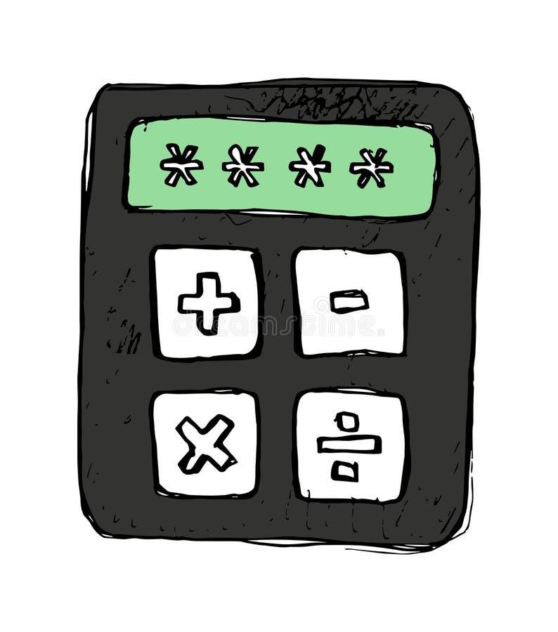 Ícone desenhado à mão do vetor da calculadora ilustração royalty free