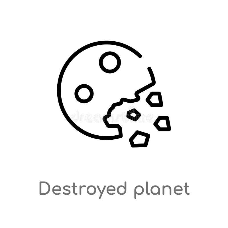 ícone destruído esboço do vetor do planeta linha simples preta isolada ilustra??o do elemento do conceito da astronomia Vetor edi ilustração stock