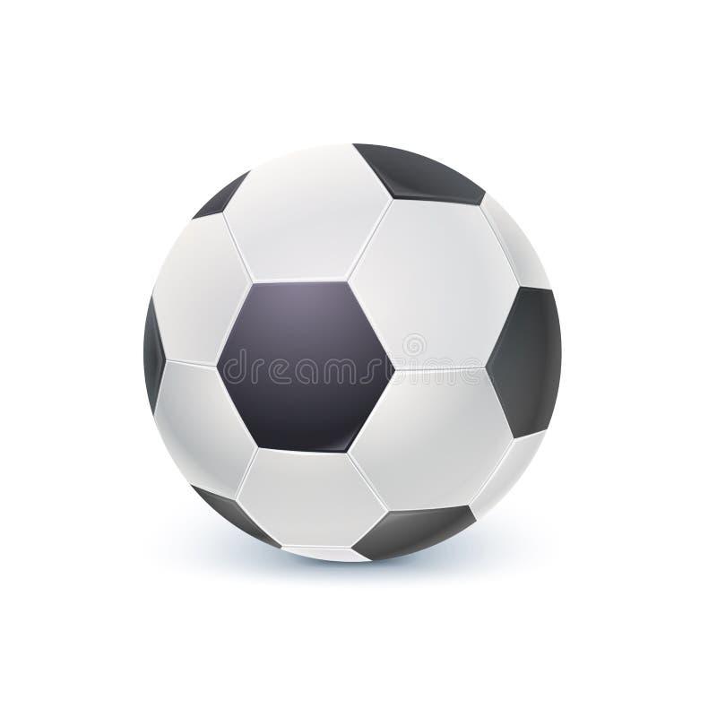 Ícone detalhado da bola para o jogo no futebol clássico Bola de futebol realística isolada no fundo branco, ilustração 3D ilustração royalty free