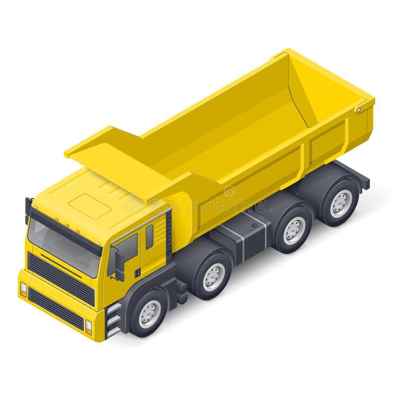 Ícone detalhado isométrico do caminhão da ponta ilustração do vetor