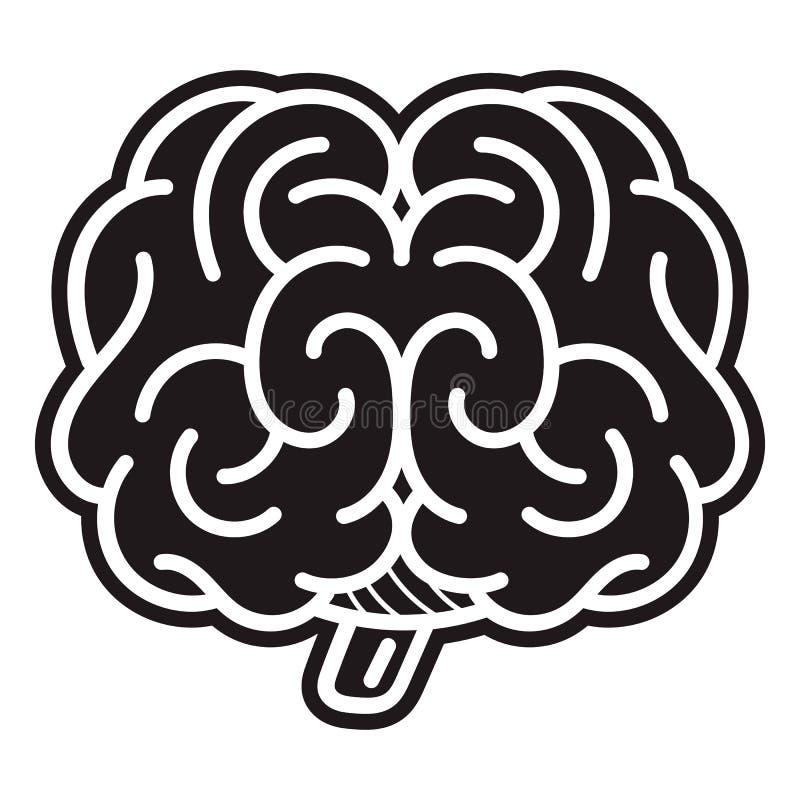Ícone dianteiro do cérebro, estilo simples ilustração royalty free
