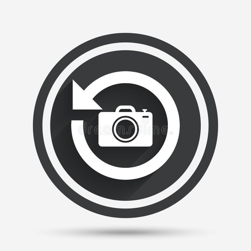 Ícone dianteiro do sinal da câmera da foto Mude o símbolo ilustração stock
