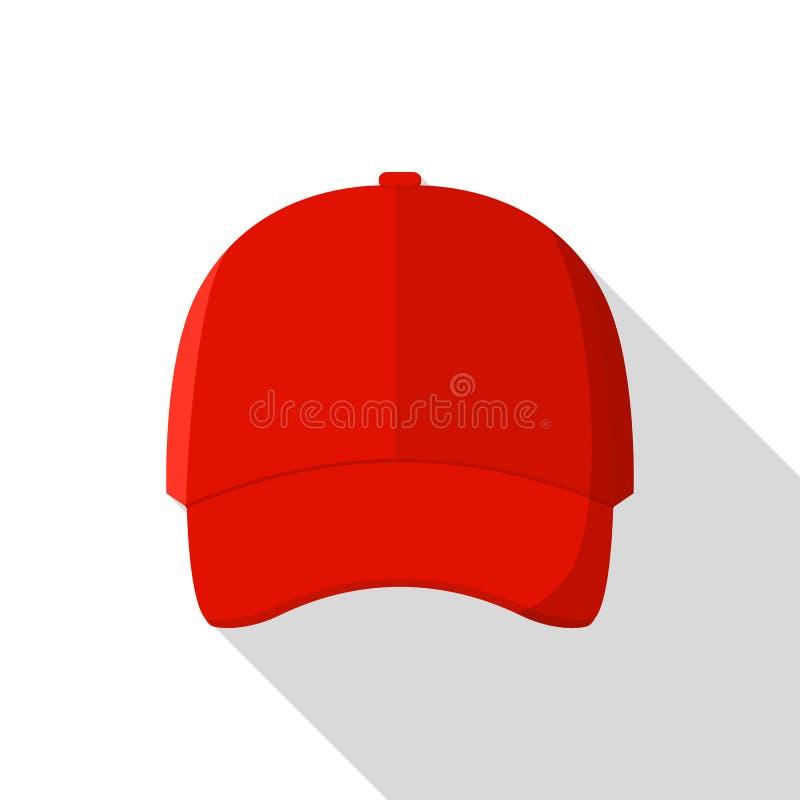 Ícone dianteiro vermelho do boné de beisebol, estilo liso ilustração stock