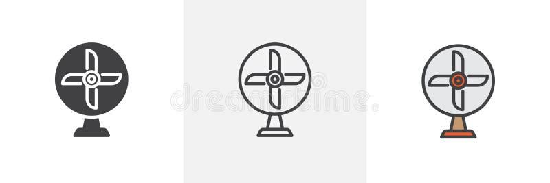 Ícone diferente do estilo do fã de tabela ilustração do vetor
