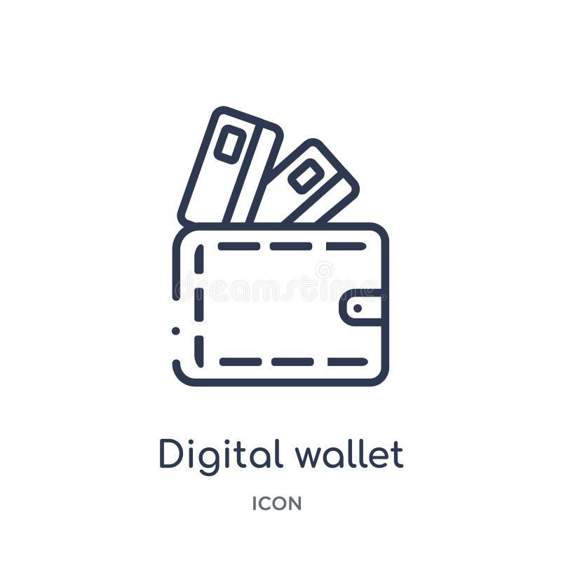 Ícone digital linear da carteira da economia de Cryptocurrency e da coleção do esboço da finança Linha fina vetor digital da cart ilustração royalty free