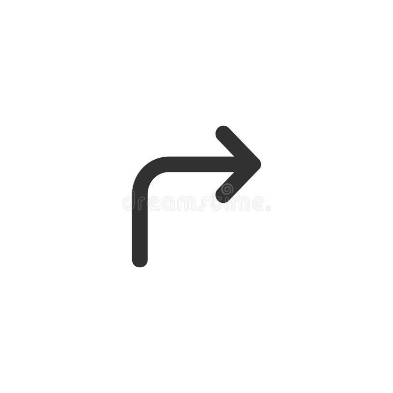 Ícone direito dianteiro do sinal da seta da volta no estilo liso na moda isolado no fundo branco, ilustração moderna do vetor do  ilustração stock