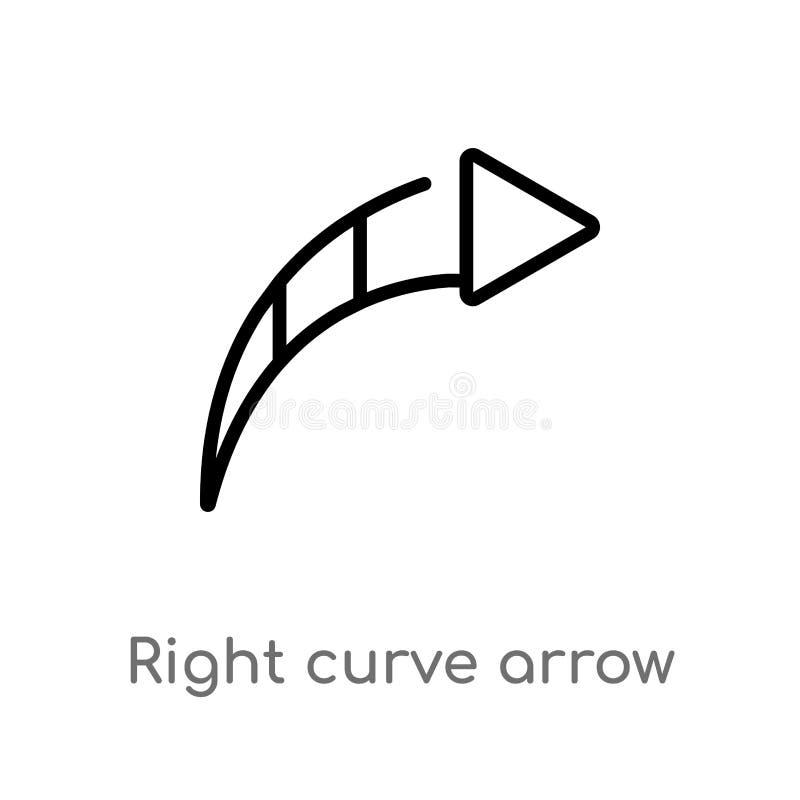 ?cone direito do vetor da seta da curva do esbo?o linha simples preta isolada ilustra??o do elemento do conceito da interface de  ilustração do vetor