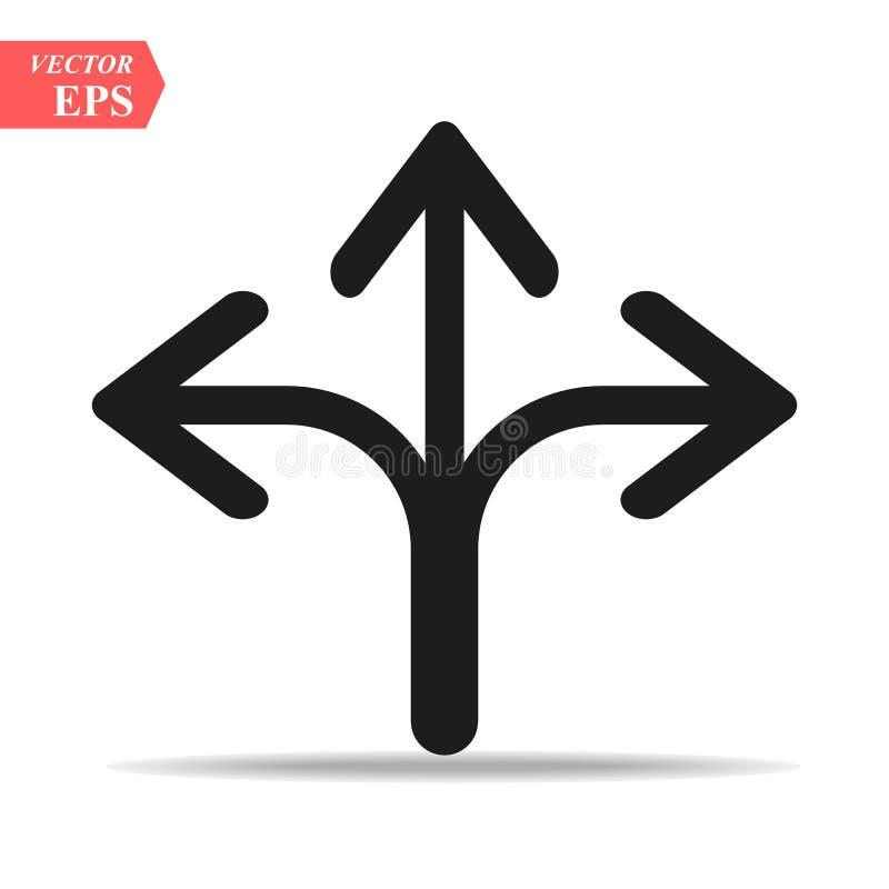 Ícone dirigido três da seta no estilo liso na moda isolado no fundo cinzento Símbolo para seu projeto da site, logotipo da seta,  ilustração royalty free