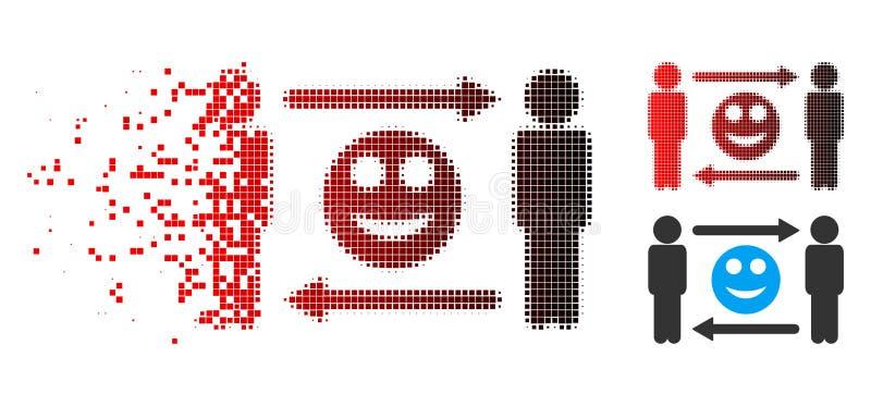 Ícone dissolvido de Dot Halftone Men Smile Exchange ilustração stock