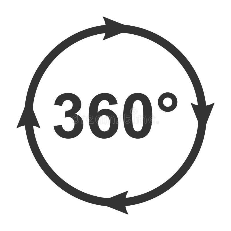 Ícone do ângulo 360 graus de símbolo panaramic video da vista imagens de stock