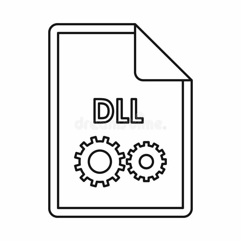 Ícone do ícone da extensão de arquivo do DLL, estilo do esboço ilustração do vetor
