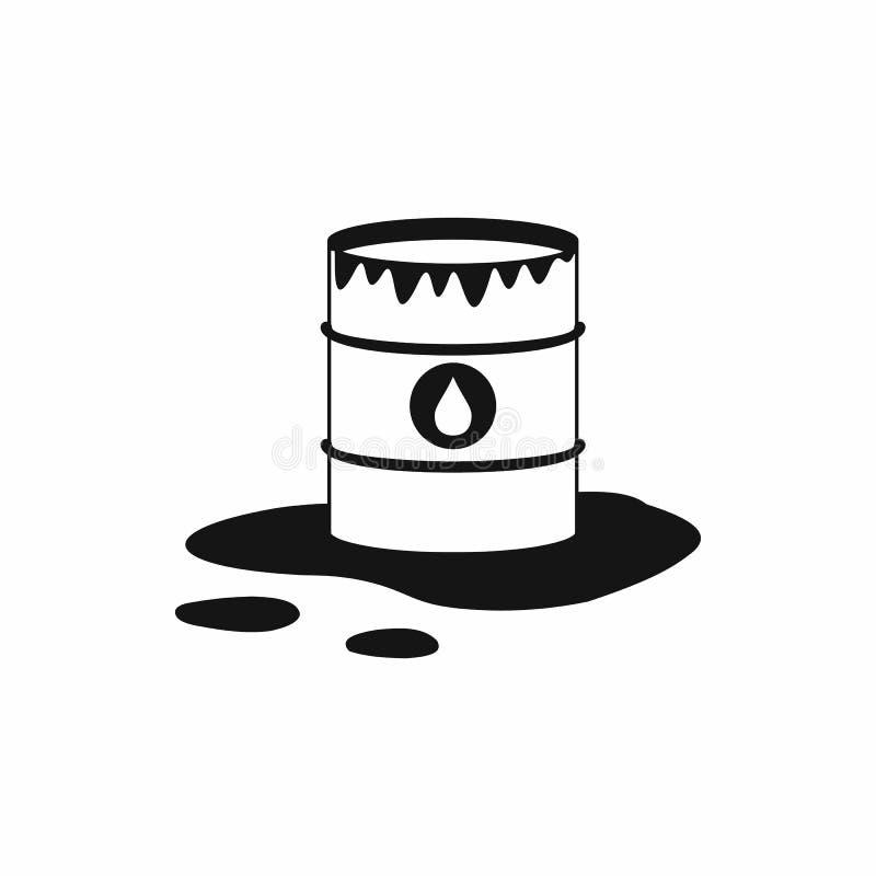 Ícone do ícone do derramamento do tambor e de óleo, estilo simples ilustração royalty free