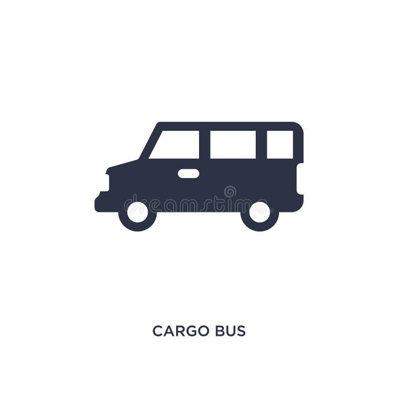 ícone do ônibus da carga no fundo branco Ilustração simples do elemento do conceito da entrega e da logística ilustração stock