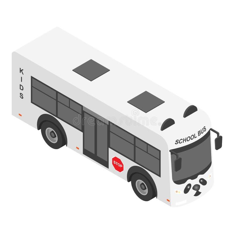 Ícone do ônibus escolar da panda, estilo isométrico ilustração stock