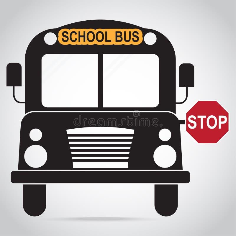 Ícone do ônibus escolar De volta à ilustração do sinal da escola ilustração stock