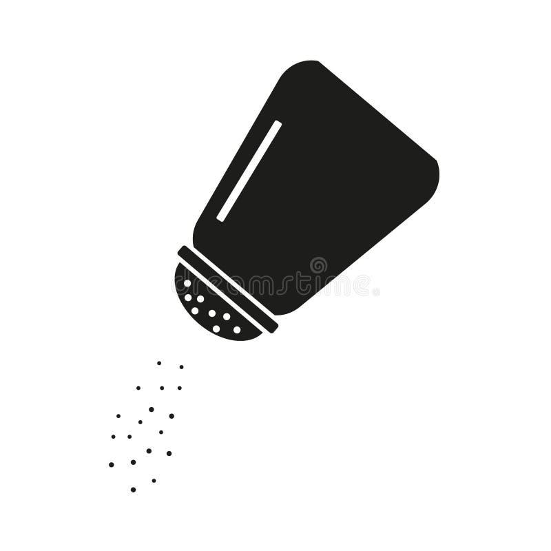 Ícone do abanador de sal no estilo liso isolado no fundo branco Cozendo e cozinhando o ingrediente Tempero do alimento Cozinha ilustração royalty free