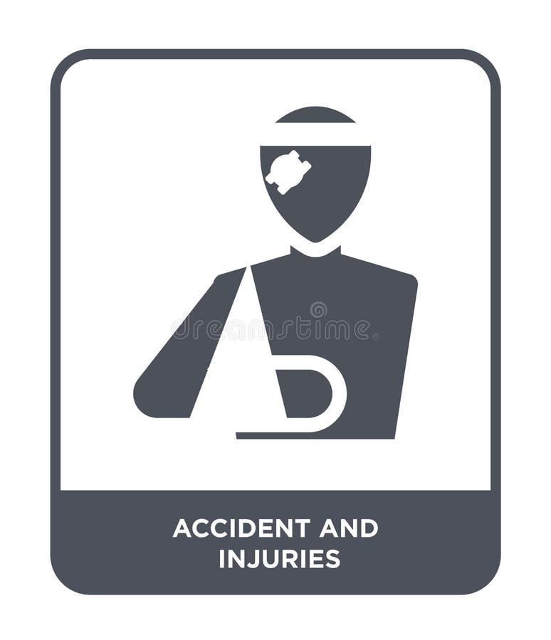 ícone do acidente e dos ferimentos no estilo na moda do projeto ícone do acidente e dos ferimentos isolado no fundo branco aciden ilustração royalty free