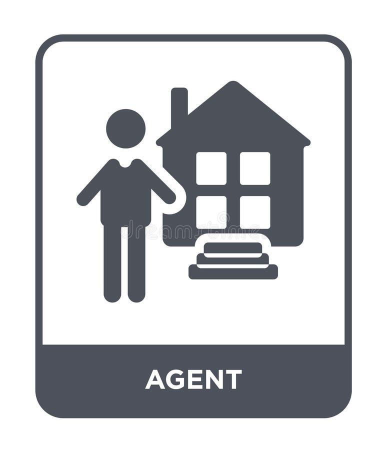 ícone do agente no estilo na moda do projeto ícone do agente isolado no fundo branco símbolo liso simples e moderno do ícone do v ilustração stock