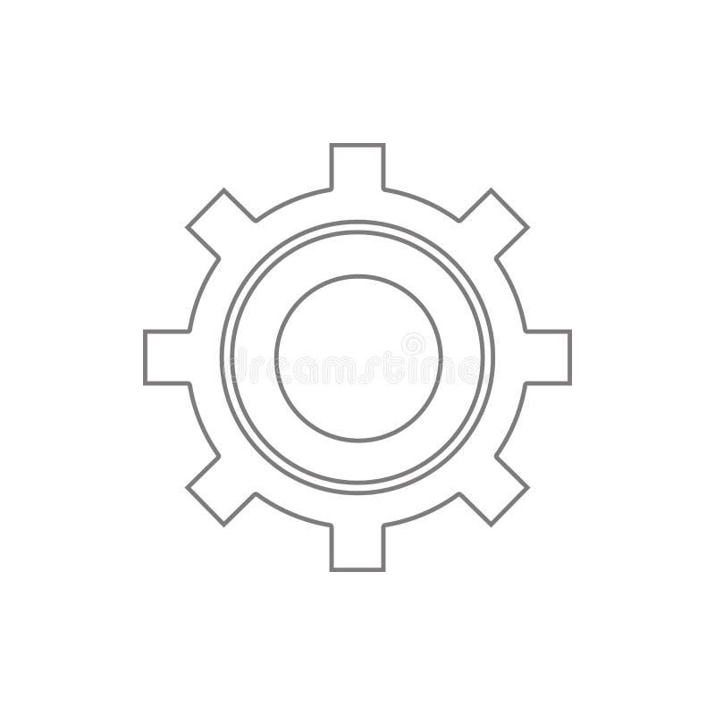 Ícone do ajuste Elemento da segurança do cyber para o conceito e o ícone móveis dos apps da Web Linha fina ícone para o projeto e ilustração stock