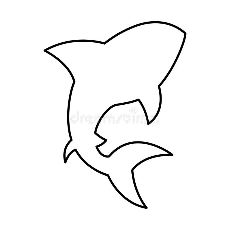 Ícone do alerta da silhueta do tubarão ilustração royalty free