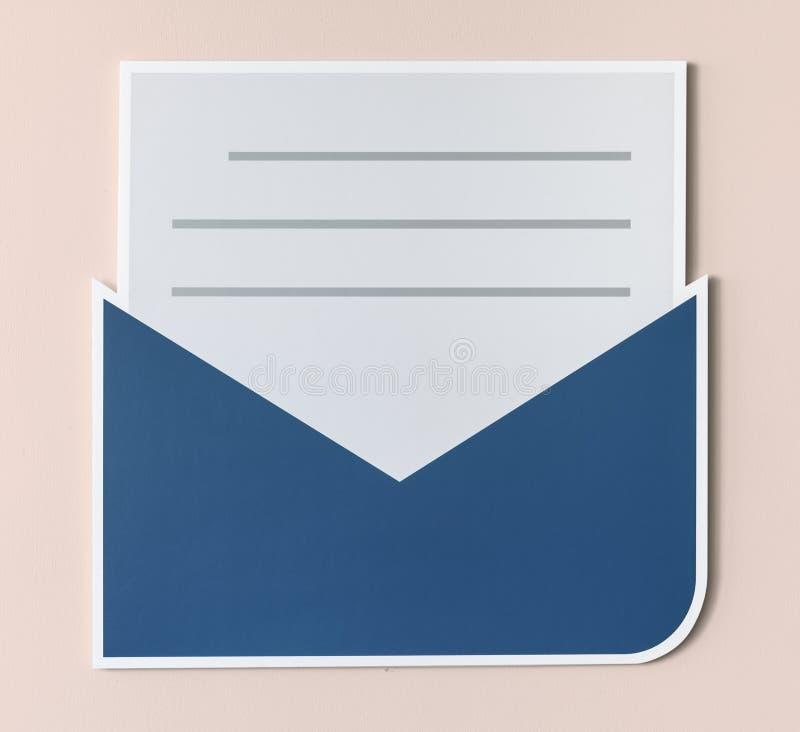 Ícone do alerta do email da carta aberta foto de stock
