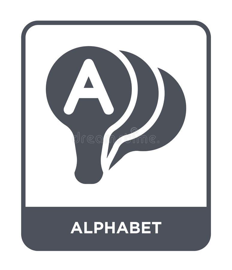ícone do alfabeto no estilo na moda do projeto Ícone do alfabeto isolado no fundo branco plano simples e moderno do ícone do veto ilustração stock
