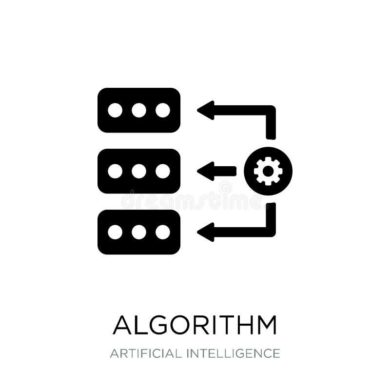 ícone do algoritmo no estilo na moda do projeto Ícone do algoritmo isolado no fundo branco plano simples e moderno do ícone do ve ilustração stock