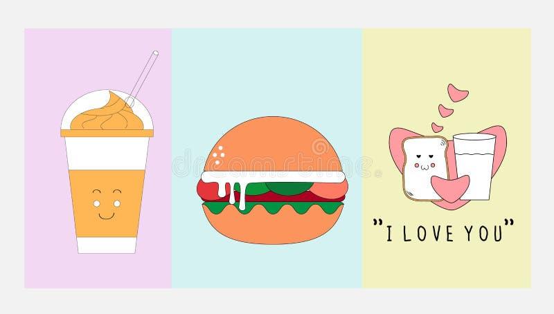 Ícone do alimento e da bebida ajustado com conceito de projeto liso ilustração royalty free