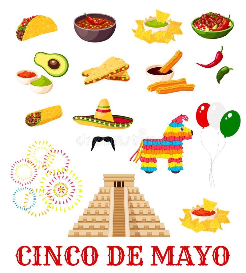 Ícone do alimento do partido da festa de Cinco de Mayo do mexicano ilustração do vetor