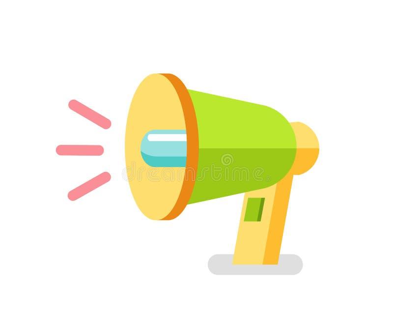 Ícone do altifalante, vetor colorido do megafone 3D ilustração stock